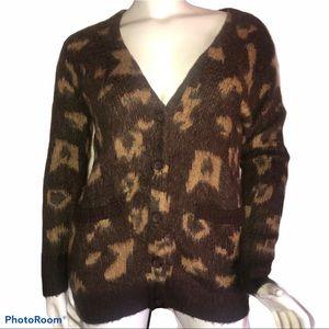 Forever 21 leopard print v neck cardigan